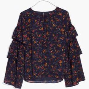 Madewell floral tiered sleeve top